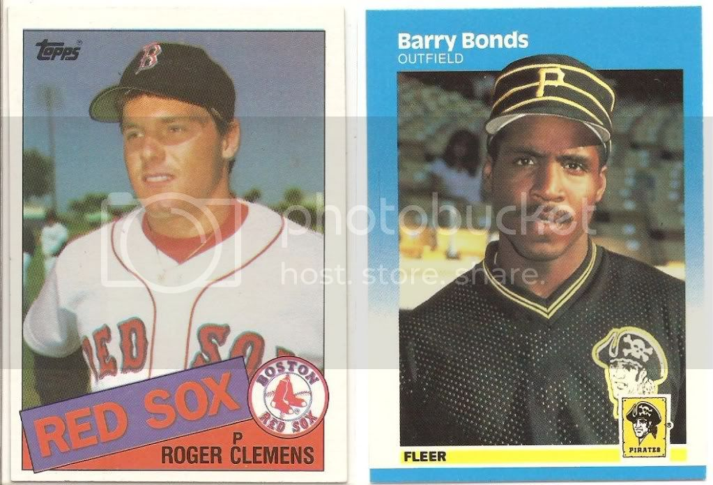 1985 roger clemens and 1987 fleer barry bonds photo bondsclemens001.jpg